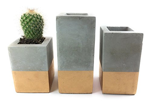 Set of 3 Handmade Gold & Grey Concrete Planters