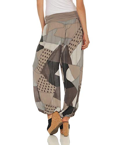 Cappuccino Harem Print Pants Zarmexx Ladies Summer Aladdin Patchwork qPpTw18n0