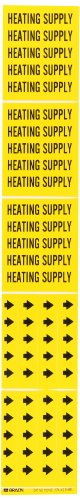 "Brady 7130-3C 2-1/4"" Height, 2-3/4"" Width, B-946 High Performance Vinyl, Black On Yellow Color Self-Sticking Vinyl Pipe Marker, Legend ""Heating Water Supply"", For 3"" Or Less Outside Pipe Diameter"