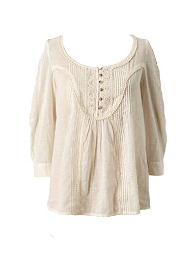 Anthropologie Floreat Lace Henley Blouse Top Size 6
