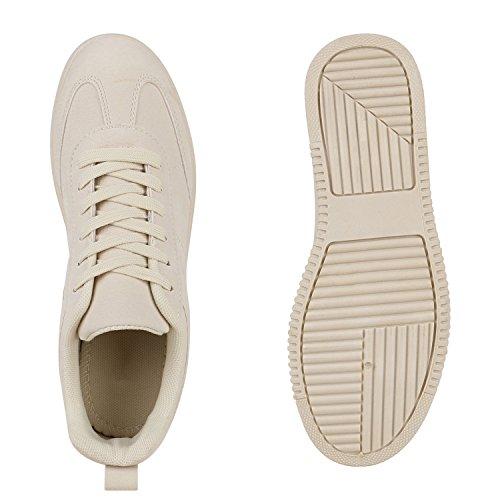Stiefelparadies Damen Sneakers Plateau Sneaker Sportschuhe Prints Schuhe Flandell Creme Nude Carlet