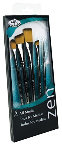Royal & Langnickel Zen 5 Piece Long Handle All Media Stroke Variety Paint Brush Set by
