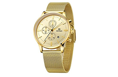 Amazon.com: Relojes de Hombre Stainless Steel Mesh Band Waterproof Business Dress Watch Hour for Man RE0043: Watches