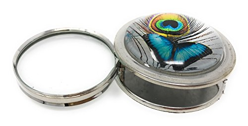 Folding Magnifying Glass Paperweight by Value Arts, Blue Butterfly and Peacock Feather, 2.5 Diameter Butterfly Peacock