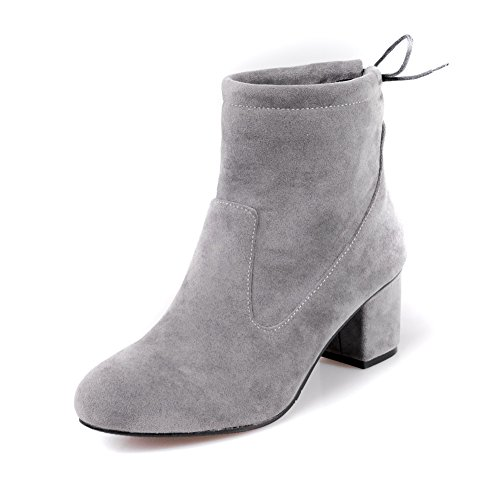 Balamasa Dames Chunky Heels Bandage Ronde Neus Frosted Boots Grijs