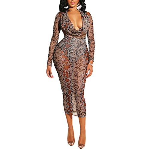 Sherro Bodycon Ruffle Chiffon V Neck Snake Leopard Print Modest Dress Clubwear Brown XL