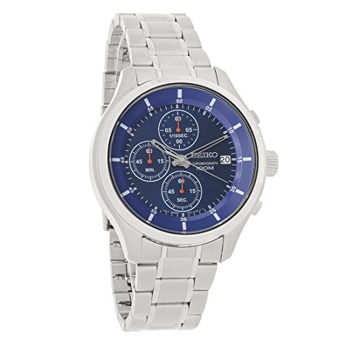Stainless Steel Chronograph Blue Dial (New Seiko SKS549 Chronograph Stainless Steel Blue Dial 100M Men's Watch)