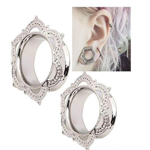 - Naomi 1 Pair Brass Plugs and Tunnels Stretcher Gauges Tribal Lotus Flower Double Flare Gold Copper Ear Expander Body Jewelry Gold 12