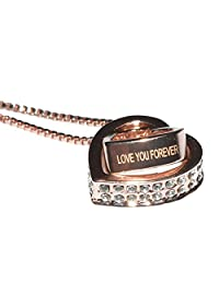 SALE 'LOVE YOU FOREVER' Engraved 18 ct Rose Gold Plated Heart Crystals from Swarovski Pendant Chain Beautiful Necklace