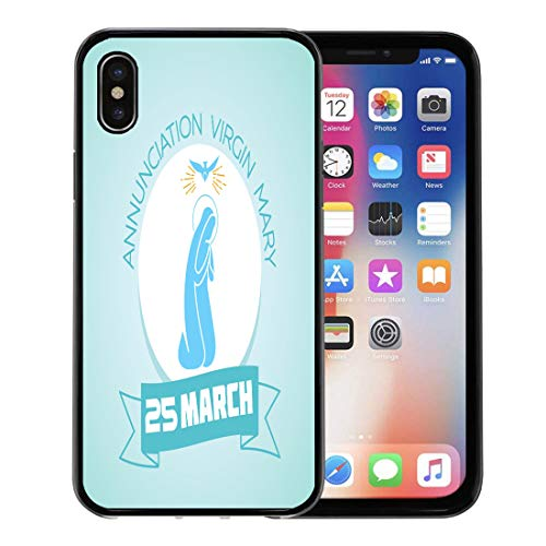 Emvency Phone Case for Apple iPhone Xs Case/iPhone X Case,Blessed Calendar for Each Day on March25 Holiday Annunciation Soft Rubber Border Decorative, Black