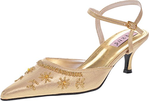 Ladies with Gold Upper Sandal Textile Pointed Lexus Closed Beaded Toe Xw6qcvXxr