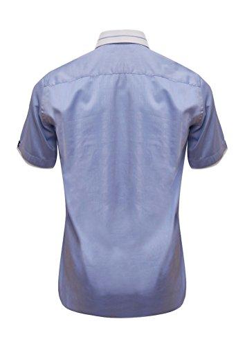 Giorgio Capone Herrenhemd, 100% Baumwolle, Blau, Kent-Kragen mit blauer Akzent-Linie, Kurzarm, Slim/Normal & Regular-Plus Fit