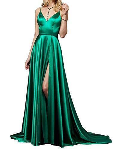 Promkleider Traeger Abendkleider Damen Jaeger Charmant V Gruen Festlichkleider Lang Ballkleider Spaghetti Ausschnitt qFp7Wxgw