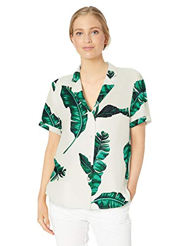 28 Palms Women's Loose-Fit 100% Silk Hawaiian Shirt, Banana Leaf White, - Dresses Hawaiian Silk