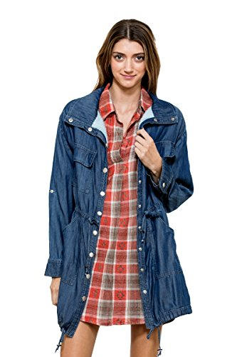 EN Creme Women's Long Sleeve Blue Jean Dark Navy Denim 4-Pocket Jacket Coat (Dark Navy Denim, - Alpine Viejas