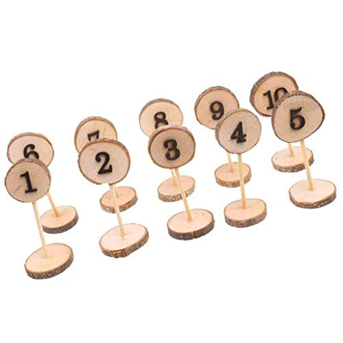 Rustic Wooden Table Numbers 1-10 Stand Sign Ornament with Holder Base for Wedding,Home,Party Decoration (Yellow -