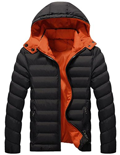 Men's Winter Thicken Cotton Warm Padded Down Coat with Removable Hood Black (Goose Down Winter Coat)