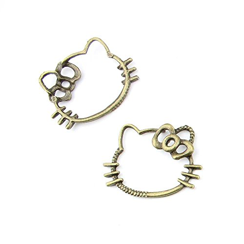 20 pieces Anti-Brass Fashion Jewelry Making Charms 2303 Hello Kitty Wholesale Supplies Pendant Craft DIY Vintage Alloys Necklace Bulk Supply Findings Loose