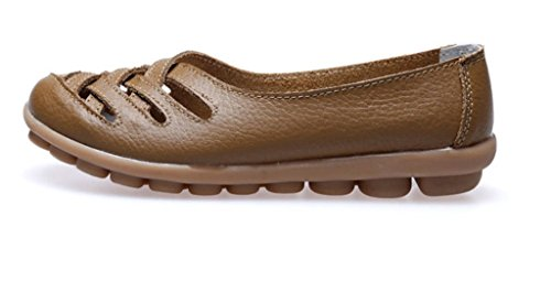 Auspicious beginning New Leather Moccasins Hollow out Flats Loafers for Women Dark Brown osu5H86
