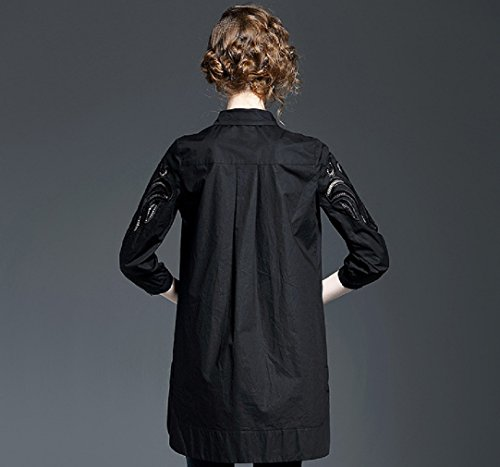 Camicia Convenzionale Lunga Bavero Donna Abiti Nero Camicetta Neck3 Formale 4 Manica Solido Cotiledone Colore 6wf45qf