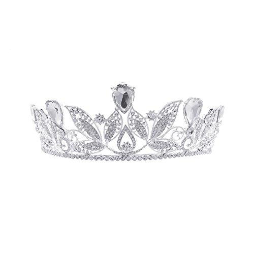 Price comparison product image Pixnor Baroque Tiara Crown Women Wedding Bridal Tiara Crown Hairband White