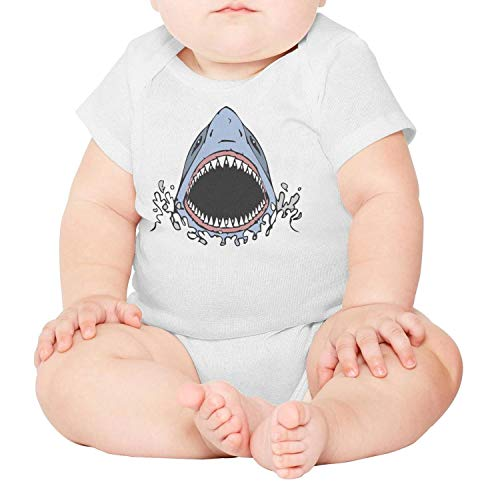 LUnBa Great White Shark Bite Baby Boys White Outfits Short Sleeve Cotton Summer ()