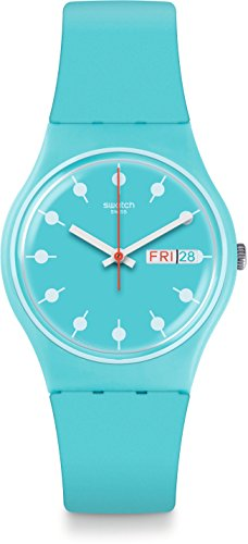 Swatch Unisex Venice Beach 34mm Blue Silicone Band Plastic Case Swiss Quartz Analog Watch GL700