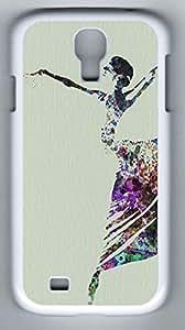 Ballerina Dancing Watercolor Canvas Print Hard Cover Back Case For Samsung Galaxy S4,PC Fashion White Case for Samsung Galaxy S4 Kimberly Kurzendoerfer