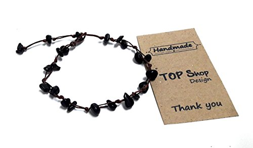 Earth Tone Dance Costumes (Black Onyx Color Bead Anklet or Bracelet Beautiful 26 cm.Handmade for Women Teens and Girls)