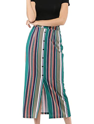 Allegra K Women's Button Decor Front Split Hem Striped Maxi Skirt Green XS (US 2)