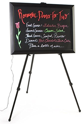 LED Writing Board for Wet-Erase Markers, Includes Floor Easel and 6 Fluorescent Liquid Chalk Markers, 13 Different Flashing Effects, Black by Displays2go