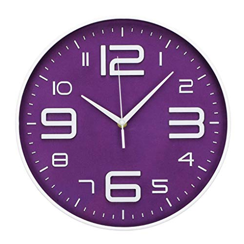 LONBUYS Wall Clock Silent No Ticking Accurate Quartz Sweep Movement Modern Decor for Kitchen, Living Room, Bedroom, Office Black (Purple) -