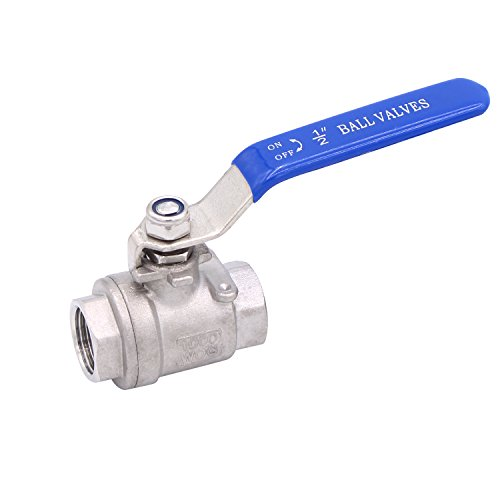 Dernord Full Port Ball Valve Stainless Steel 304 Heavy Duty for Water, Oil, and Gas with Blue Locking Handles (1/2 NPT)