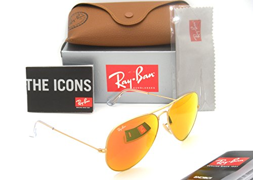 Ray-Ban 3025 Aviator RB 3025 112/69 62mm Matte Gold Frame w/ Orange Mirror - Aviator Ban Ray Authentic Mirror 3025 Matte Gold Sunglass