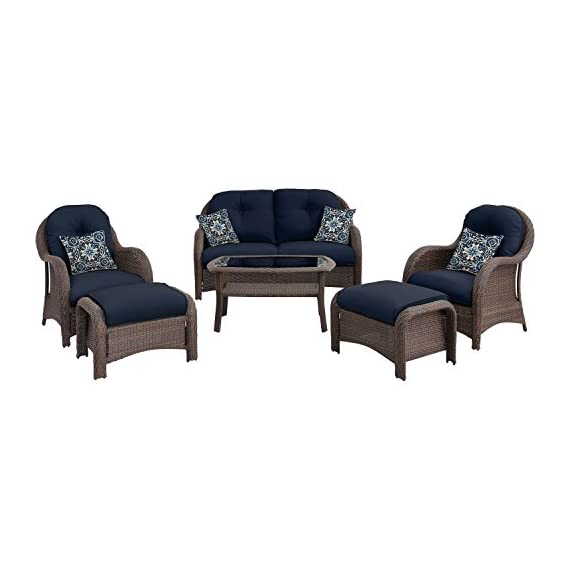 "Hanover Outdoor Newport 6-Piece Woven Seating Set, Navy Blue - Set includes:  one deep-seating loveseat,  two arm chairs,  two ottomans,  four accent pillows and a glass-top coffee Table Heavy duty Steel frame:  Powder coated Steel to resist rust Generous cushion size:  5"" Uv protected cushions offer maximum comfort while fashionable toss pillows are included to complete the style and enjoyment. - patio-furniture, patio, conversation-sets - 41PI%2BTT%2BeXL. SS570  -"