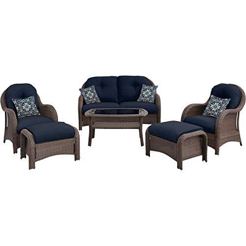 41PI%2BTT%2BeXL - Hanover Outdoor Newport 6-Piece Woven Seating Set, Navy Blue