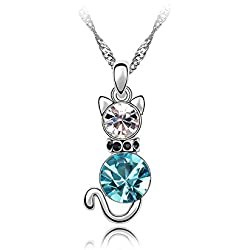 KATGI Fashion White Gold Plated Crystal Cat Pendant Necklace