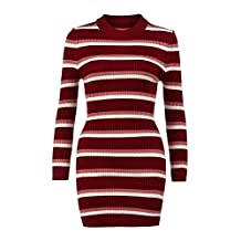 ANMIEN Womens Fall Long Sleeve Striped High Collar Stripe Dress Black and White Sweater Mini Dress (S, Red)