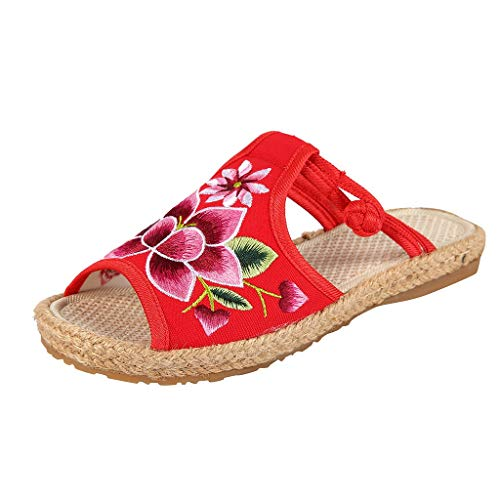 Sandals for Women, Coco-Z Girl Sandals Embroidered Slippers Buckle Strap Peep Toe Fish Mouth National Old Beijing Cloth Shoes