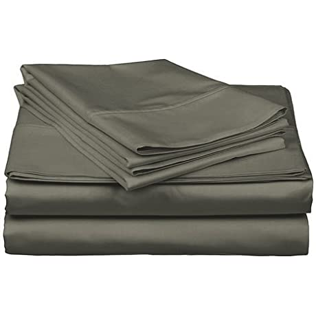 QBC Bundled Gotcha Covered Luxe Collection 100 Prct Cotton Sateen 618 Thread Ct Sheet Set W Smarty Bandzz Cal King Up To 20 In Extra Deep Profile Fog Color Plus QBC EGuide