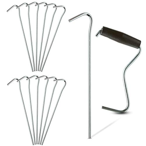 TARPATOP Galvanized 7″ Tent Pegs – Set of 12 Anchoring Stakes – 1 Peg Puller – Accessory Tool for Hikers, Campers and Farmers – Great to Use for Outdoor Canopies, Gardening, Beach Shades, and Tarps