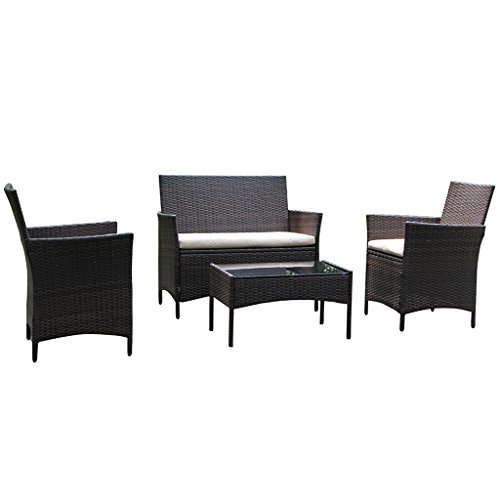 VIVA HOME On Patio Furniture Ratten Dining Sets 4PCS With Beige Cushion, Outdoor Wicker Sofa (Cheap Wicker Furniture Patio)