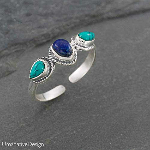 Boho Sterling Silver Ring With Lapis Lazuli and Turquoise Gemstones, Open and Adjustable Tribal Oval Stone Ring, Hippie Ethnic Handmade Natural Stone Ring, Unisex Indian Jewelry For men and women