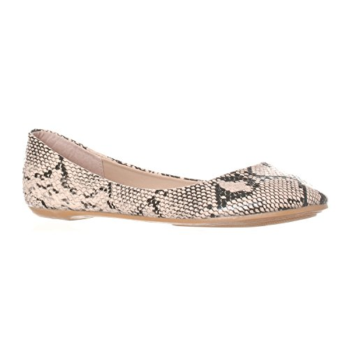 Riverberry Women's Aria Closed, Round Toe Ballet Flat Slip On Shoes, Beige Python, -