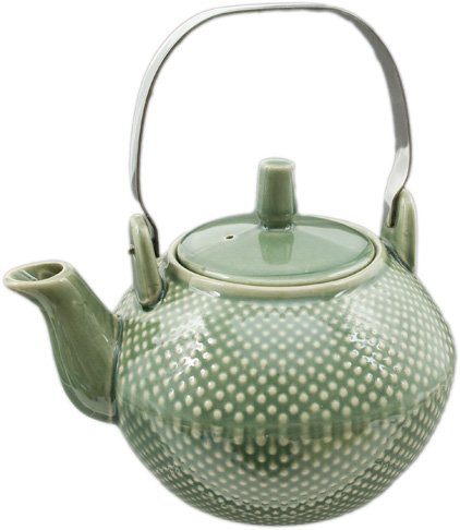 Elegant Ceramic Hobnail Teapot with Stainless Steel Handle 28 fl ounce Oriental Style Glazed Finish (Sage Green) (Sage Green Glazed)