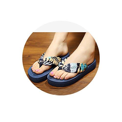 Tellw Bohemien Tacco Alto Raso Pendio Con Pantofole Da Spiaggia Antiscivolo Donna Pantofole Personaggio Umano Foglie Blu
