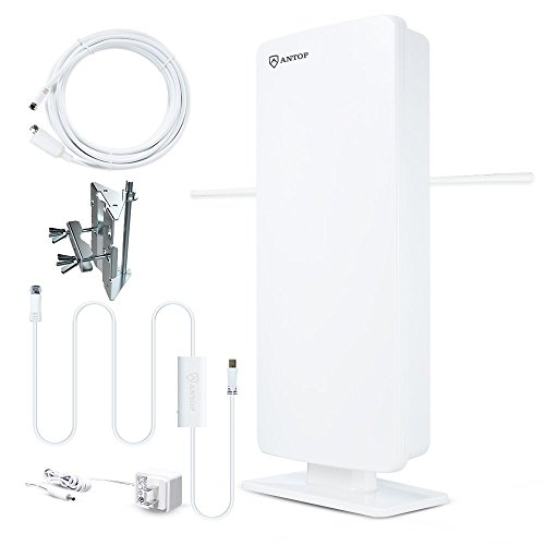 ANTOP AT-400BV Flat Outdoor/Indoor HDTV Amplified Antenna 70 Mile Range -1 Year Warranty- (Renewed)