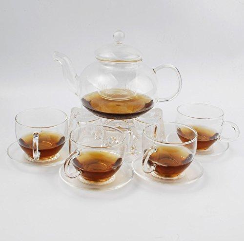 NW 10pcs/set Crystal Glass Teapot, Glass Circular Teacup , Heart -shaped Warmer for Tea Time