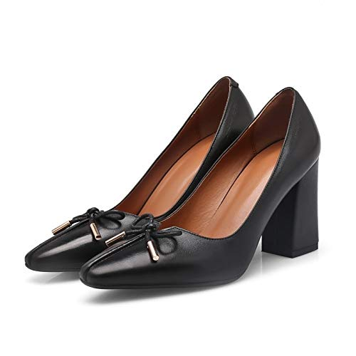Black ZHZNVX Cowhide Heels Almond Heel Pump Fall Basic Almond Comfort Shoes Chunky Women's SSwvp