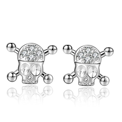 18g 316l Surgical Steel Cute Skull Cartilage Piercing Earrings Stud Sleeper Earrings 2 Pieces -